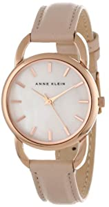 Anne Klein Women's AK/1206RGLP Rose Gold-Tone Open Bangle Pink Leather Strap Watch