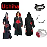 Cosplay de Traje para cosplay Naruto Akatsuk Ninja Uchiha Itachi Set--Capa con capucha (XL: Tamaño 177cm-184cm) + Itachi Uchiha Ninja diadema + collar + anillo