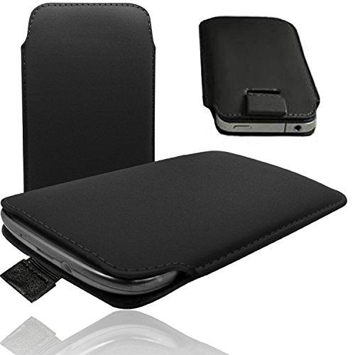 Phicomm X100 / i600 Smartphone Handy Etui Pull UP Tab Tasche ultra slim - HQ Schwarz