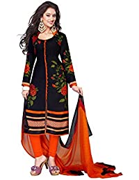 Market Magic World Woman's Cotton Semi-stiched Salwar Suit(Kameez)(MMW-02022_Free Size_Blue)