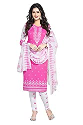 Ishin French Crepe Pink & White Printed Unstitched Dress Material