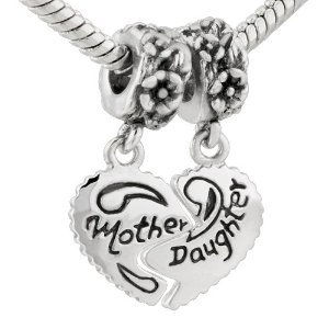 "Eveserose Antique Silver Tone ""Mother And Daughter"" Break Away Heart For Two Bead Charm Bead Fits Authentic Eveserose Chamilia Troll Pandora European Bracelet & Necklace Snake Chain Compatible"