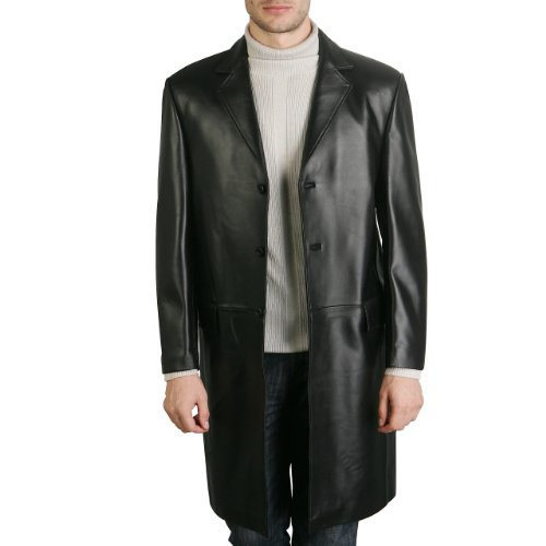 BGSD Men's New Zealand Lambskin Leather Walking Long Coat - Black Medium
