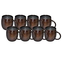 Prisha India Copper Hammered Moscow Mule Mug Antique Style Best Quality, Set of 8