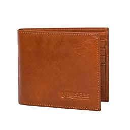 Mens Wallet by Moseeg Super Premium Full Grain Leather With RFID Protection Light Brown