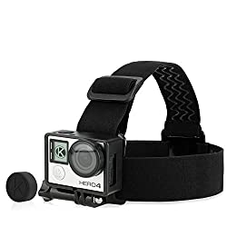 CamKix Head Strap Frame Mount Bundle for GoPro Hero 4, 3+, and 3 - USB, HDMI and SD Slots Fully Accessible - Light and Comfortable Head Strap Mount with Optimal Sound Capture with your Action Camera - Includes 1 Head Strap Mount, 1 Frame Mount, 1 Large Thumbscrew, 1 Rubber Lens Cap and 1 UV Filter Lens Protector (Head Strap Frame Mount Bundle)