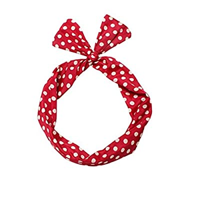 Sea Team Wire Headband Stylish Retro Bowknot Polka Dot Wire Hair Holders for Women and Girls Red