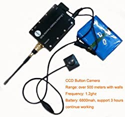 SPY LONG RANGE WIRELESS BUTTON CAMERA