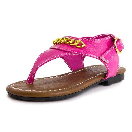 Girls Ankle Strap Roman Gladiator Sandal Hot Pink 7 M Us Toddler front-564947