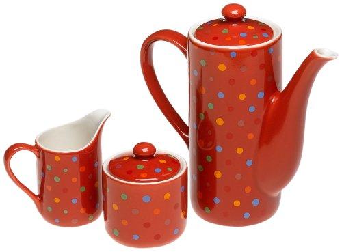 Yedi Houseware Classic Coffee And Tea  Polka Dot Teapot, Sugar And Creamer Set, Red