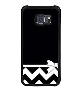 Fuson Premium 2D Back Case Cover Black and white zigzag With Green Background Degined For Samsung Galaxy S6 Edge::Samsung Galaxy Edge G925