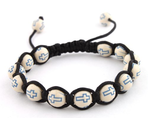 White with Blue Cross Beaded Adjustable Bracelet Macrame Shamballah