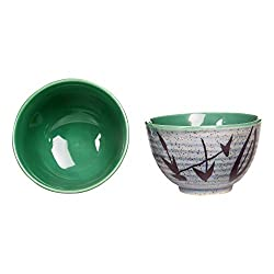 Dessert Katori Bowl Ceramic/Stoneware in Glossy seagreen and matte grey leaf (Set of 2) Handmade By Caffeine