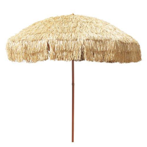 8' Hula Umbrella 16 Fiberglass Ribs Covered w/ Beige Raffia (Hula), 4.33