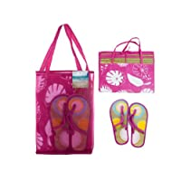 straw mat w/sandals in carry bag assorted colors