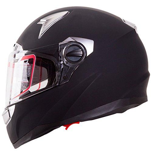 Matte Black Dual Visor Full Face Street Bike Motorcycle Helmet DOT (M)