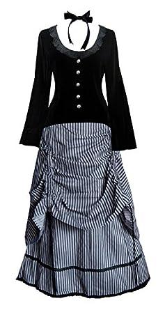 Late Victorian Costume                                                              Victorian Valentine Steampunk Gothic Civil War Striped Womens Top & Skirt                               $142.00 AT vintagedancer.com