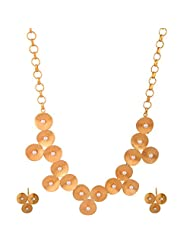 Gehna Mart Handmade Designer Brass Necklace With Pearls Earring, In Yellow Gold Finish 37.8 Grams