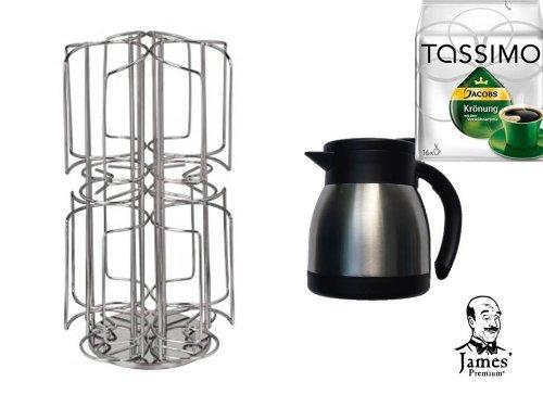 Tassimo Jacobs Krönung Verwöhnkanne + die neue Thermoskanne für Tassimo Jacobs Krönung Verwöhnkanne und der neue Kaffee-Kapselhalter für Tassimo 64 T- Disc in Edelstahl drehbar und damit noch mehr Sorten auf kleinster Fläche griffbereit von James Premium®