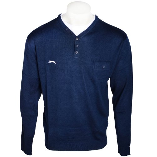 Slazenger Men's Exclusive Navy Y-Neck With Mock Insert Knitted Jumper in Size XLarge