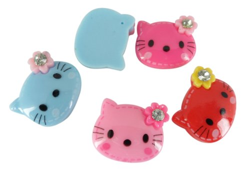 Resin Hello Kitty Cat Flower Gem Flat Back Scrapbooking Embellishments Cabochon Trim (Hello Kitty Flatback Resins compare prices)