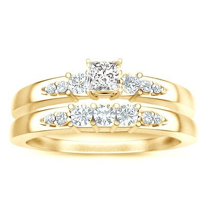 0.58 Carat Diamond Bridal Sets Princess Cut Diamond on 14K Yellow gold