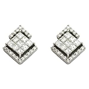 14k White 1.08 Ct Diamond Earrings - JewelryWeb