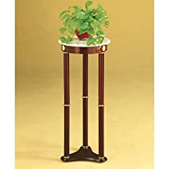 Coaster Plant Stand Side Table White Marble Top and Cherry Finish Wood Base