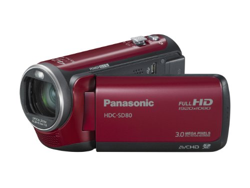 Panasonic SD80 Full HD Camcorder - Red (SD Card Recording, x42 Intelligent Zoom, x37 Optical Zoom, Wide Angle Lens & iA + Face Recognition & New Hybrid OIS)
