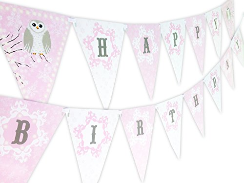 Snowy Owl Pink Happy Birthday Banner Pennant (Pink Owl Cupcake Liners compare prices)