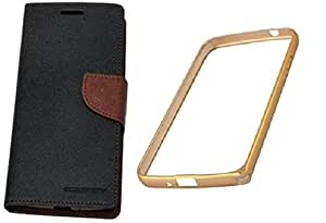 Generic Mercury Diary Flip Cover For Sony Xperia E3 Brown With Backless Matellic Bumper Golden