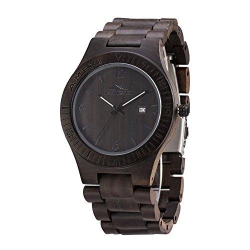 Amexi orologio in legno uomo sandalo nero for Orologio legno amazon