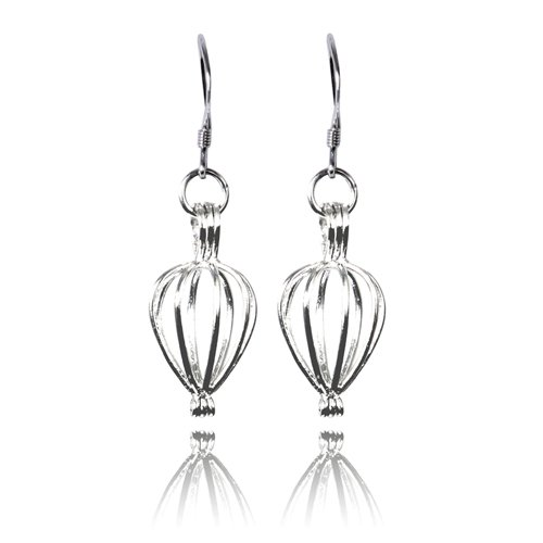 Sterling Make a Wish Pearl Heart Cage Earrings Jewelry