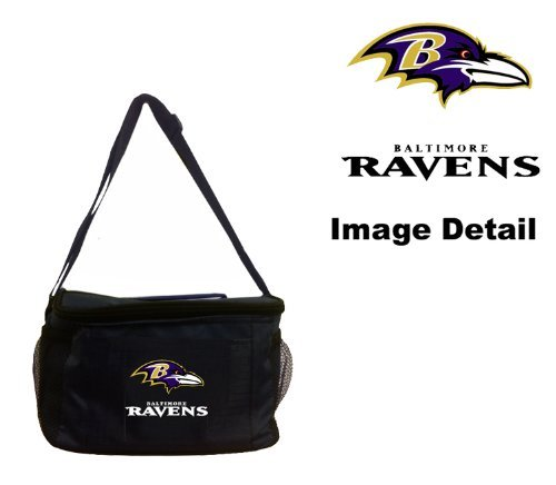 Baltimore Ravens NFL Team Logo 6-Sports Drink Beer Water Soda Beverage Can Insulated Picnic Outdoor Party Beach BBQ Kooler Cooler Lunch Bag Tote - 6-Pack Bag