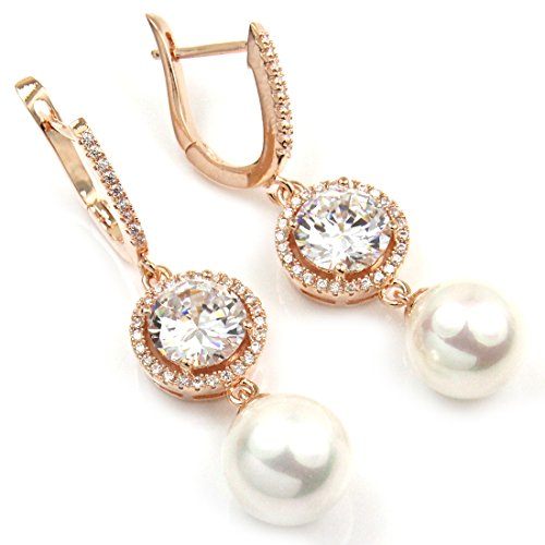 Fc Rose Gold Gp Cz Shell Pearl Swarovski Crystal Women Girl Dangle Bridal Drop Earring