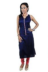 Kittus Fashion House Women's Poly Rayon Straight Kurti (Kskrt-1073C_Navy_Large)