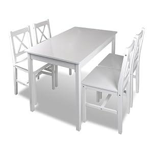 Table et 4 chaises en bois blanc cuisine maison - Table cuisine bois blanc ...