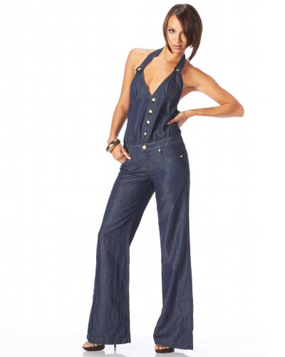 bebe.com  :  denim halter jumpsuit com playsuit image