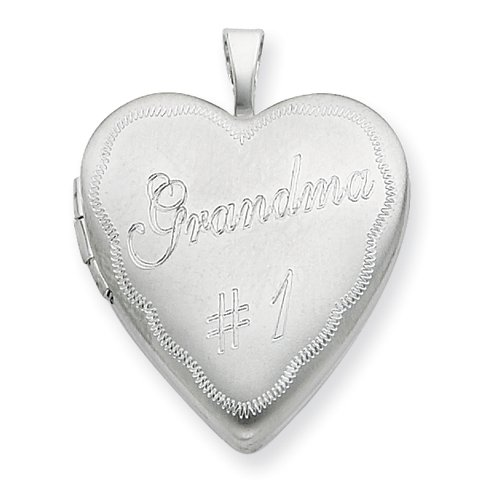 Sterling Silver 20mm # 1 Grandma Heart Locket