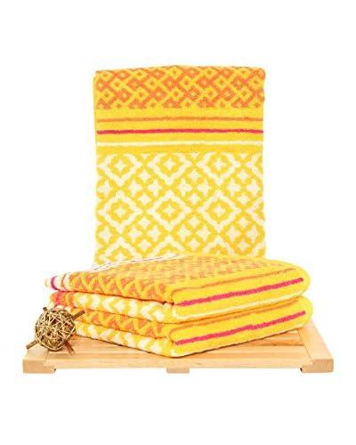 Maisonette Marcocco 3-Piece Hand Towel Set, Yellow