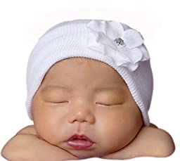 Melondipity Girls White Newborn Authentic Hospital Grade Baby Hat- White Flower