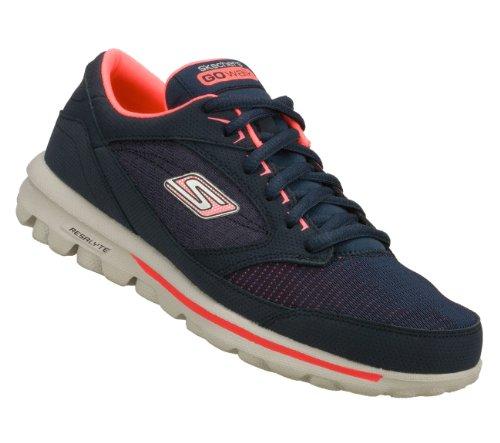 Skechers Go Walk Baby Womens Walking Shoes Wide Width Navy/Hot Pink 8.5 W front-602337