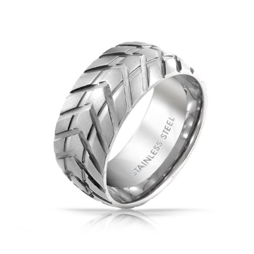 Fathers Day Gifts Bling Jewelry Stainless Steel Mens Tire Band Ring