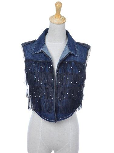 Anna-Kaci S/M Fit Dark Wash Denim Cropped Vest with Black Fringe and Faux Pearl