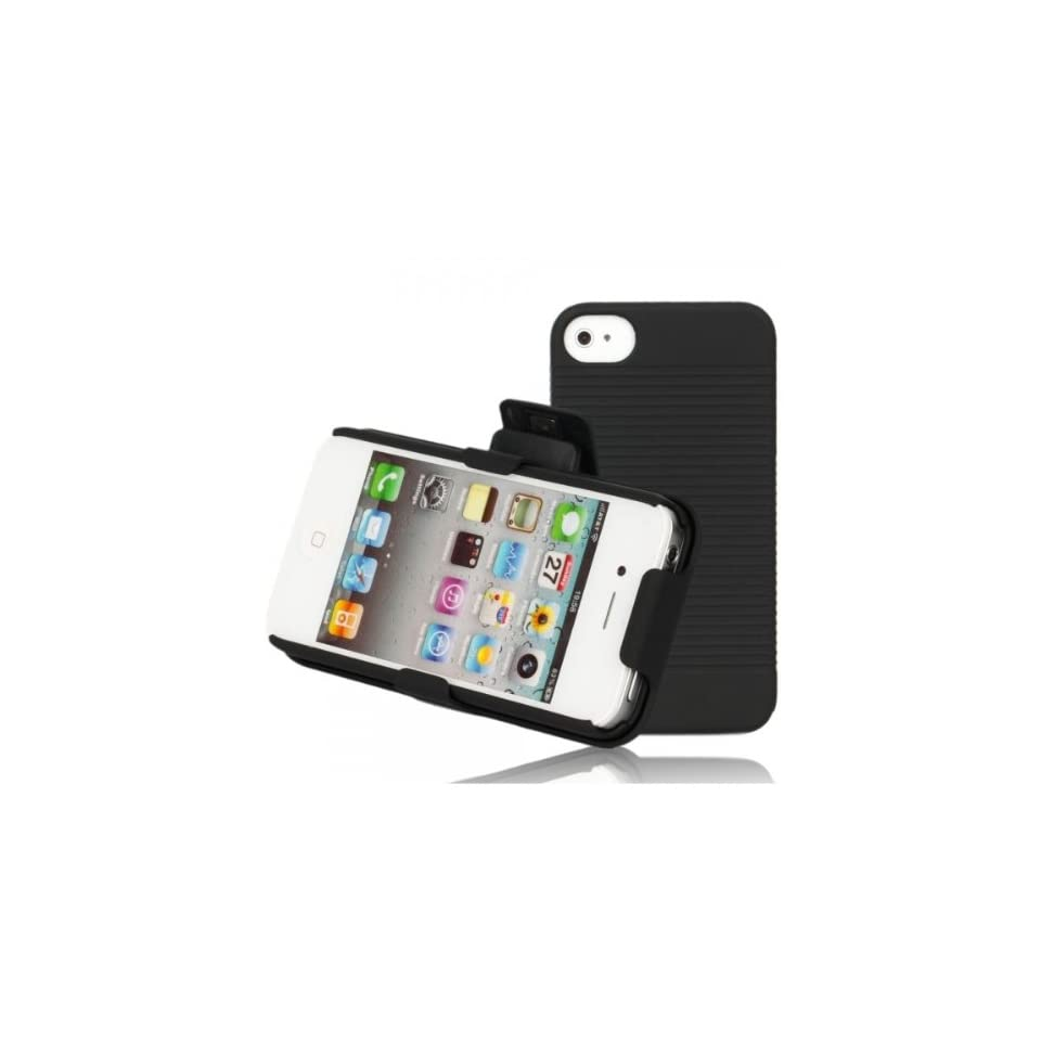 Fast shipping + Free tracking number , Shell Holster Combo Belt Clip Case Cover for iPhone 4 / 4 S Black, Unique design to optional rotating 180 Degree