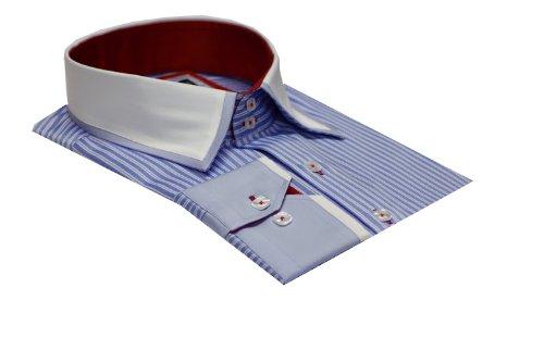 Men's Formal Casual Italain Design Shirts Designed Collar & Cuffs Blue Colour