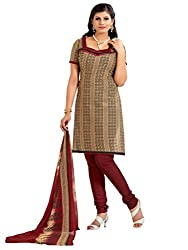 Inddus Women Copper & Maroon Colored Printed Dress Material
