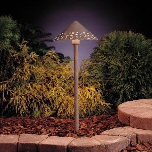 15443OB Cast Hammered Roof 1LT Incandescent/LED Hybrid Low Voltage Landscape Path and Spread Light, Olde Brick Finish