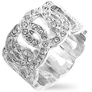 White Gold Rhodium Bonded Multi Hoop Eternity Band with Round Cut Clear CZ in Silvertone