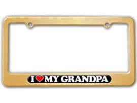 I Love Heart My Grandpa - Grandfather License Plate Tag Frame - Color Gold